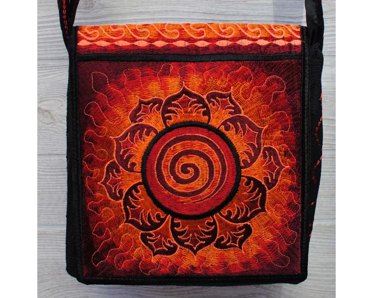 Boho Passport Crossbody Embroidery Bag - Red Orange / Swirl Flower Sun Rays