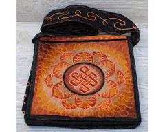 Boho Passport Crossbody Embroidery Bag - Orange Brown/Endless Knot Symbol Flower Sun Rays