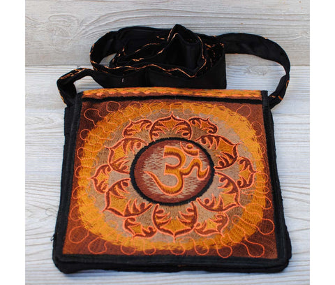 Boho Passport Crossbody Embroidery Bag - Orange Brown / Om Flower Sun Rays
