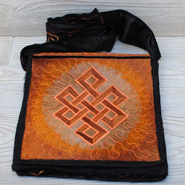 Boho Passport Crossbody Embroidery Bag - Brown Yellow / Endless Knot / Sun Rays