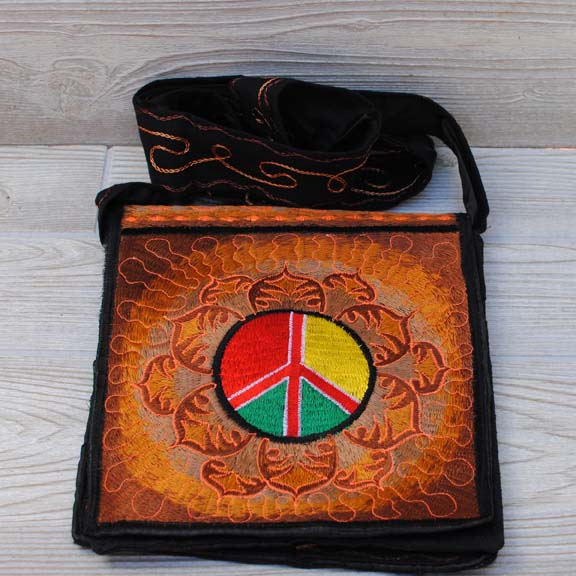 Boho Passport Crossbody Embroidery Bag - Brown Yellow / Peace / Lotus Flower / Sun Rays