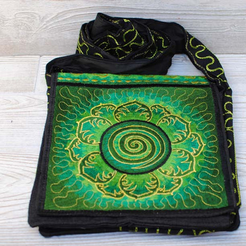 Boho Passport Crossbody Embroidery Bag - Green Yellow / Swirl / Lotus Flower / Sun Rays