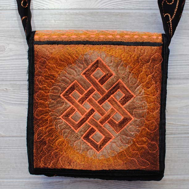 Copy of Boho Passport Crossbody Embroidery Bag - Brown Yellow / Endless Knot / Sun Rays