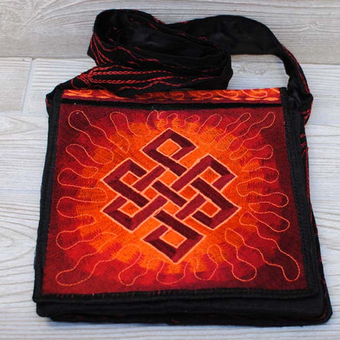 Boho Passport Crossbody Embroidery Bag - Red Orange / Endless Knot / Sun Rays