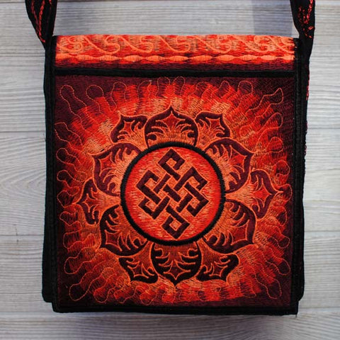 Boho Passport Crossbody Embroidery Bag - Red Orange / Endless Knot Flower Sun Rays