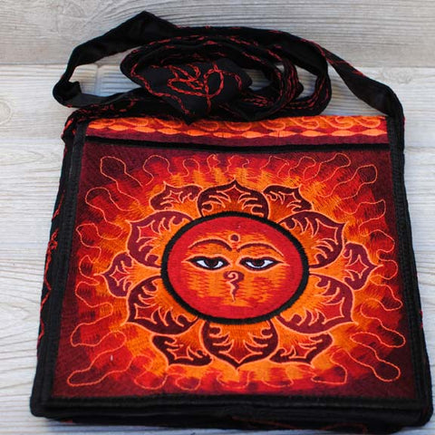 Boho Passport Crossbody Embroidery Bag - Red Orange / Buddha's Wisdom Eyes Flower Sun Rays