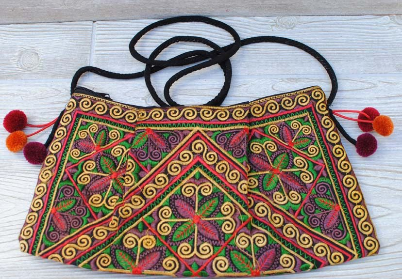 Boho Ethnic Embroidery Bag - Floral Yellow Green Red