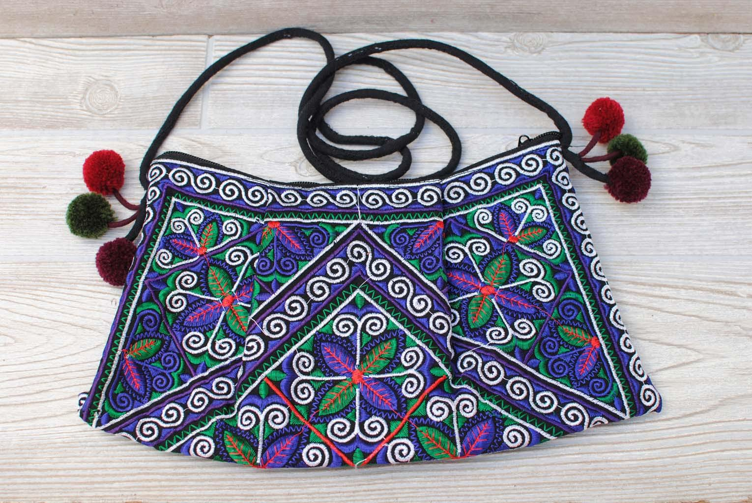 Boho Ethnic Embroidery Bag - Floral Purple Green