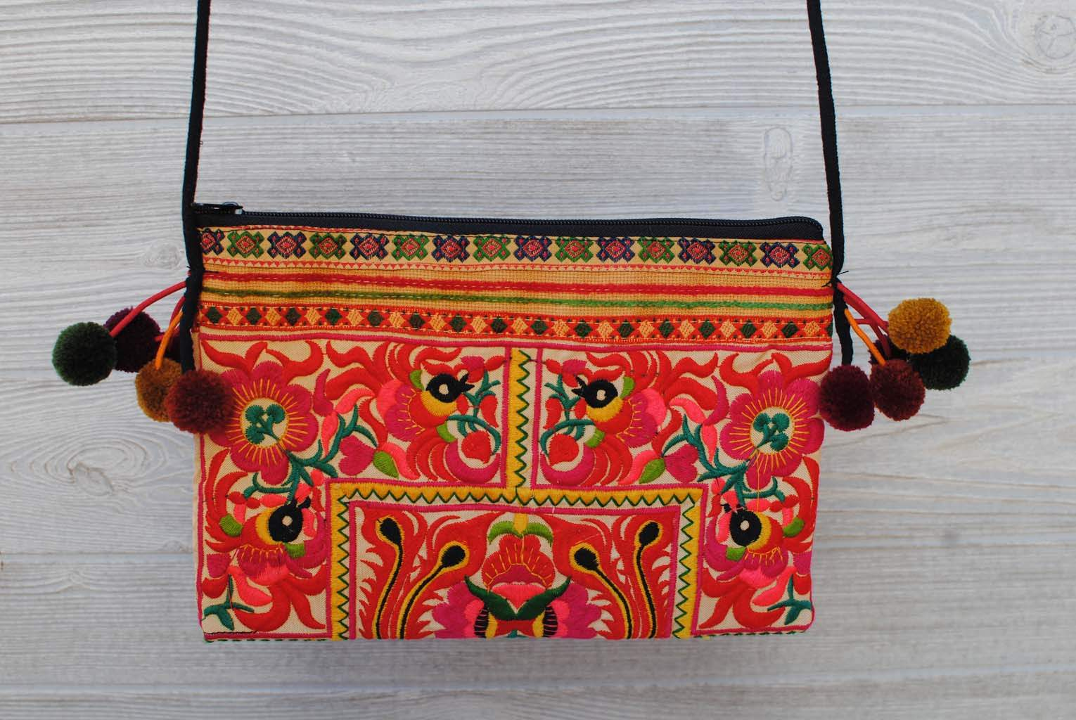 Boho Ethnic Embroidery Bag - Floral Orange Green Yellow