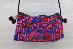 Boho Ethnic Embroidery Bag - Floral Pink Purple Blue