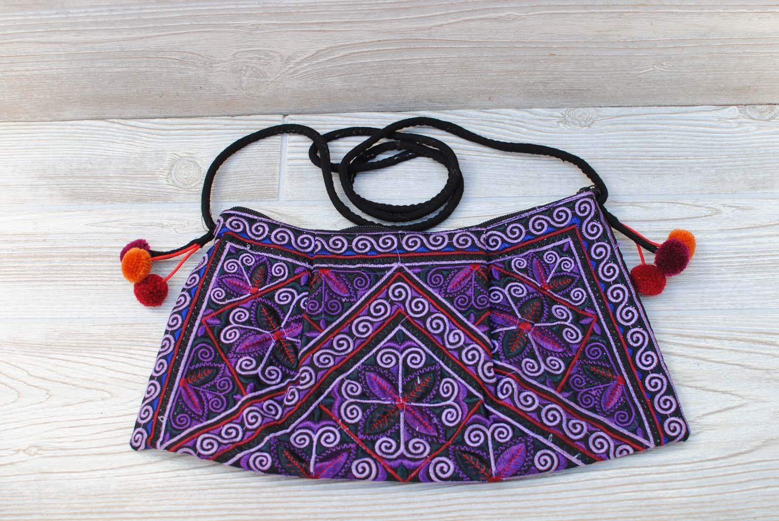 Boho Ethnic Embroidery Bag - Floral Purple
