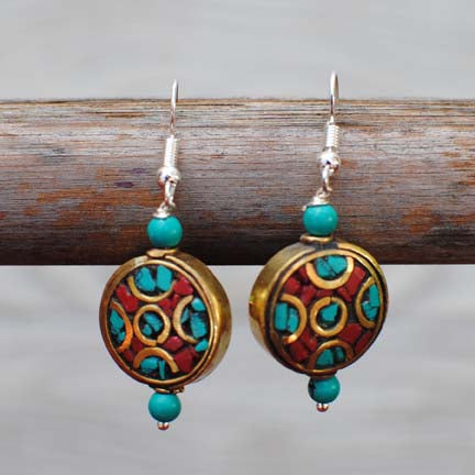 Handmade Ethnic Nepalese Silver Earrings with Turquoise & Coral - 102