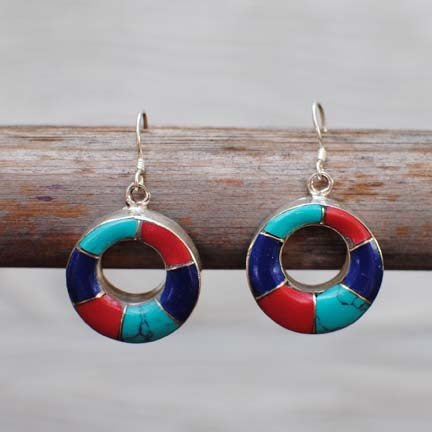 Handmade Ethnic Nepalese Silver Earrings with Turquoise, lipis lazuli & Coral - 103