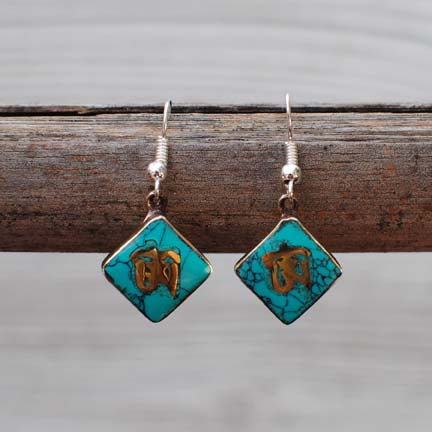 Handmade Nepalese Ethnic Silver Earrings with Turquoise - Tibetan Ohm Symbol - 104