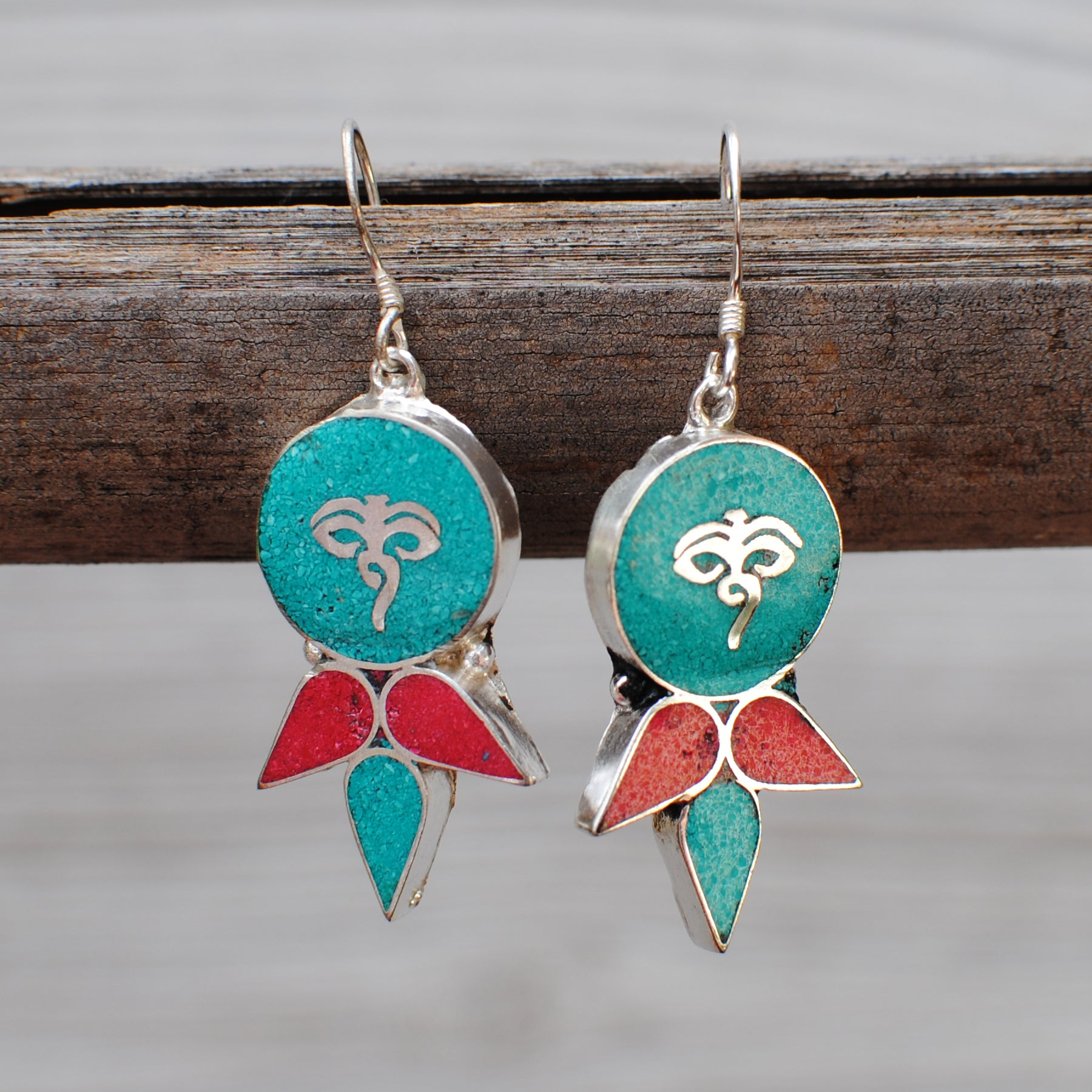 Handmade Ethnic Tibetan Silver Earrings with Turquoise & Coral -  105