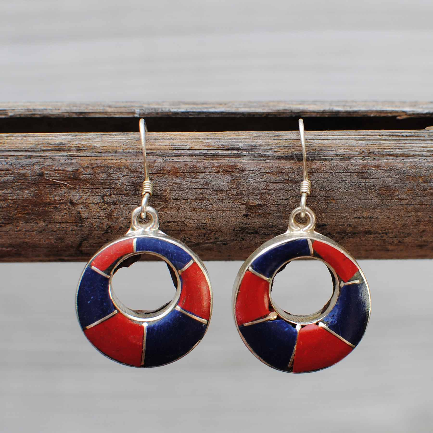 Handmade Tibetan Silver Earrings with lipis lazuli & Coral - 106