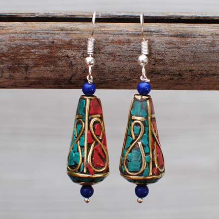 Handmade Ethnic Nepalese Silver Earrings with Turquoise, Lapis Lazuli & Coral -  109