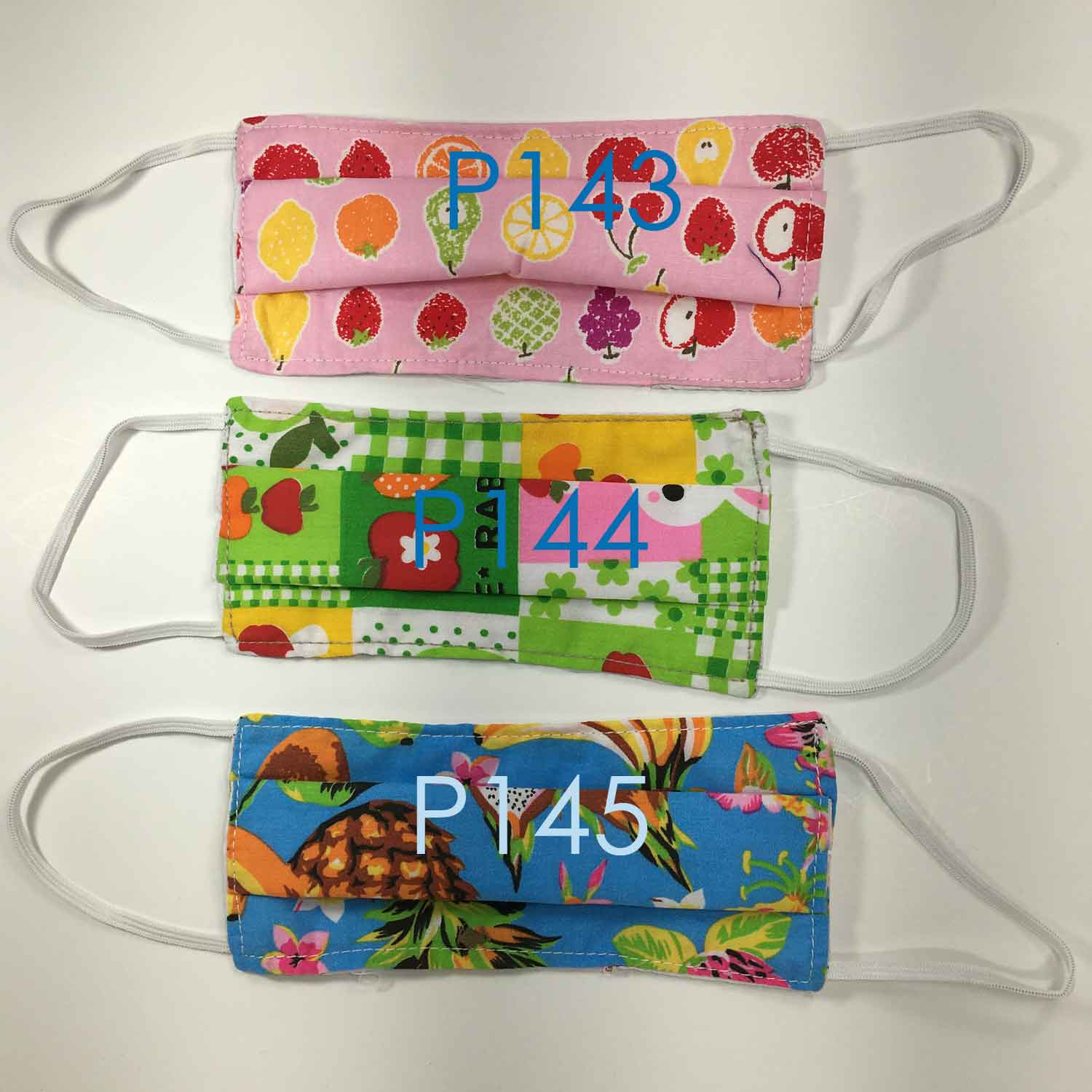 Handmade SMALL KIDS Cloth Face Masks - Pleated - P143-P145