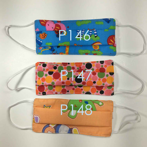 Handmade SMALL KIDS Cloth Face Masks - Pleated - P146-P148