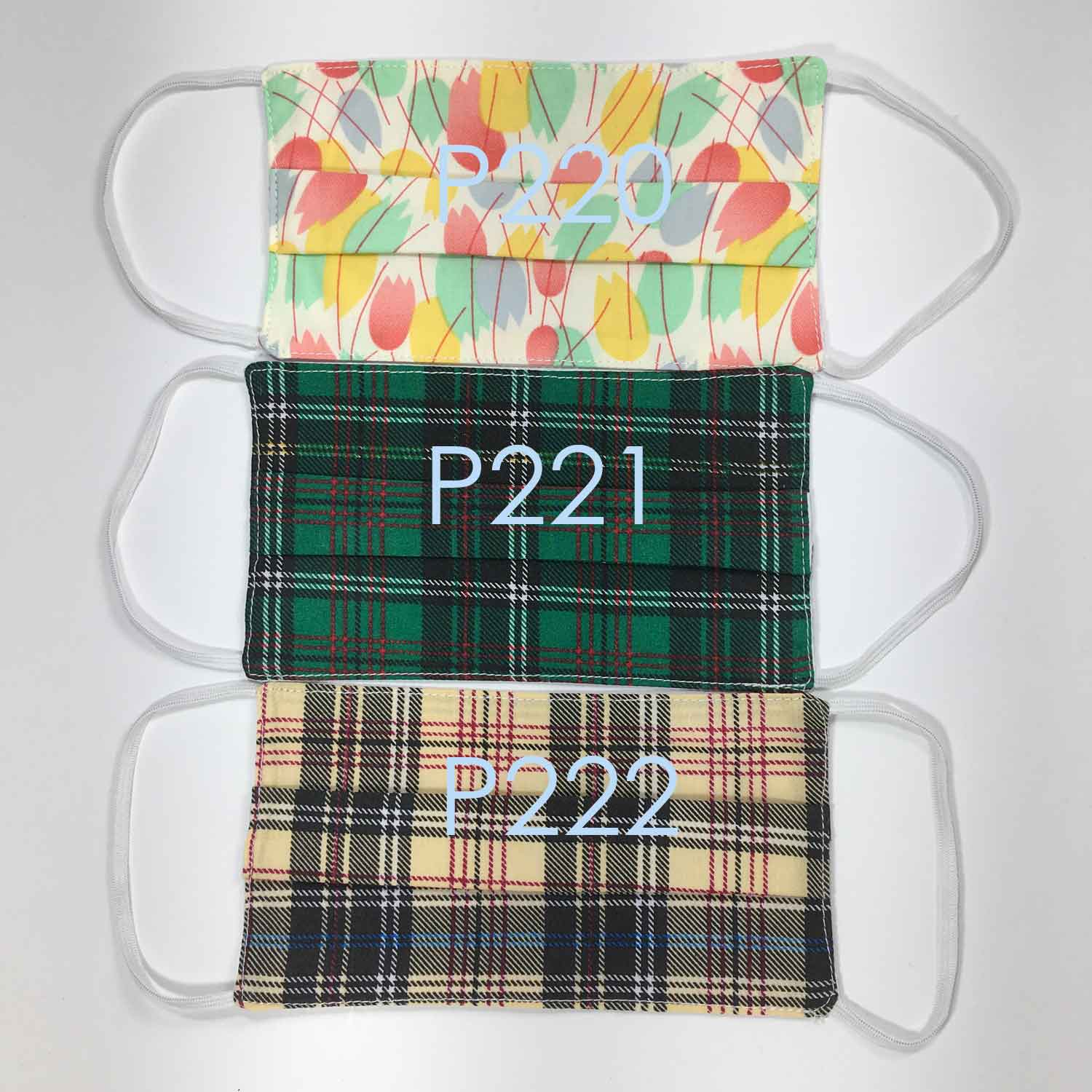 Handmade MEDIUM Cotton Face Masks - Pleated - P220-P222