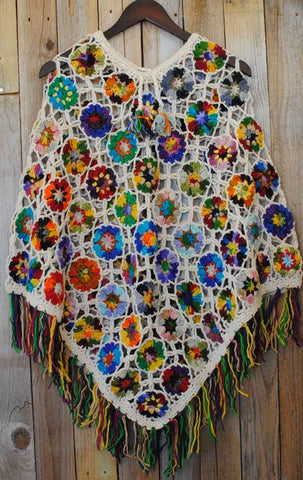 Women's Crochet Granny Square Boho Wool Poncho with Fringes - One Size Fits Most - Multicolored White