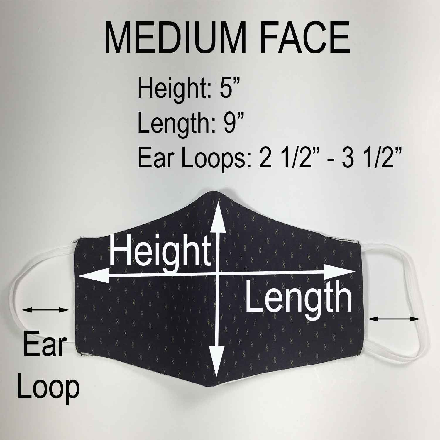 Handmade MEDIUM Cotton Face Masks - 3D - 337-339