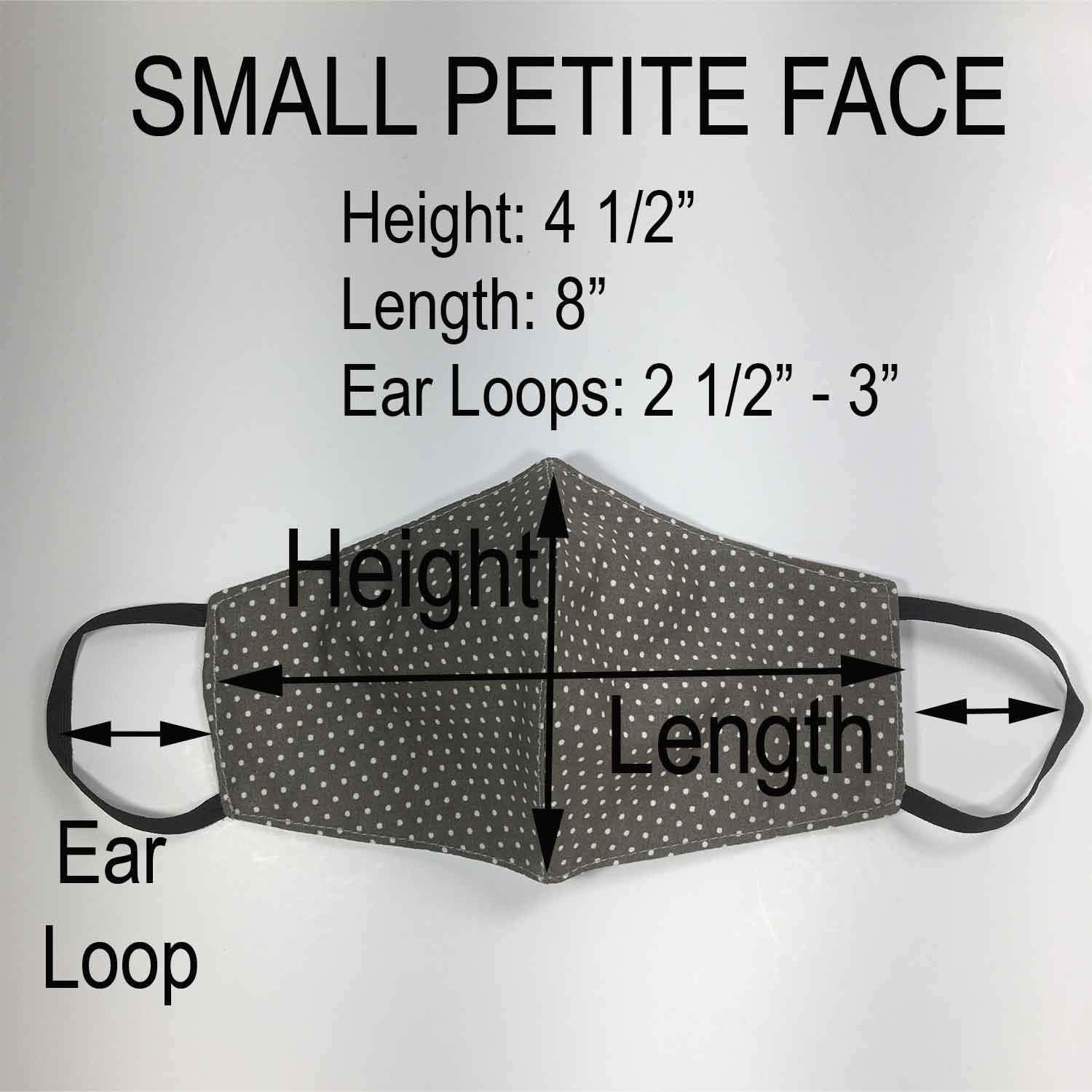 Handmade SMALL Cotton Face Masks with Filter Insert Pocket - 3D - S115-S117