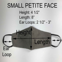 Handmade SMALL Cotton Face Masks with Filter Insert Pocket - 3D - S103-S105
