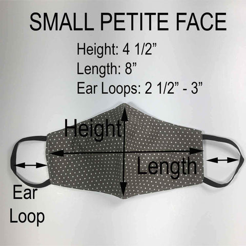 Handmade SMALL Cotton Face Masks with Filter Insert Pocket - 3D - S106-S108