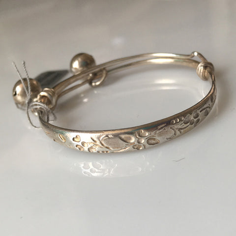Sterling Silver Baby Bangle Bracelet / Anklet - Leaf Fauna