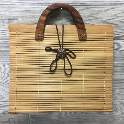 Natural Eco-Friendly Bamboo Handbag XL Rectangle - Natural
