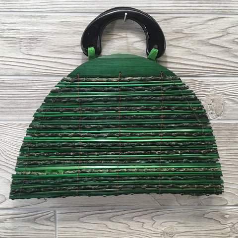 Natural Eco-Friendly Bamboo Handbag Half Moon - Large Green