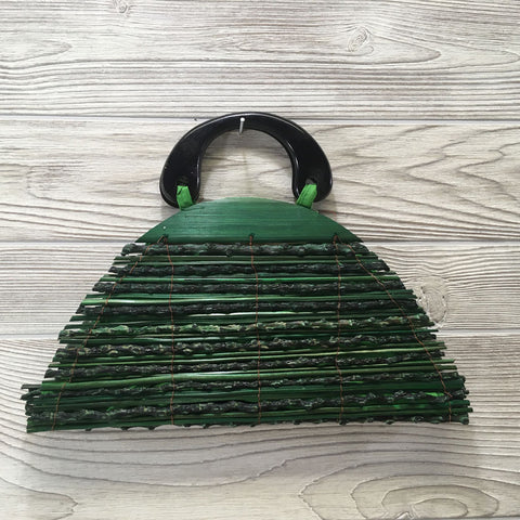 Natural Eco-Friendly Bamboo Handbag Half Moon - Small Green