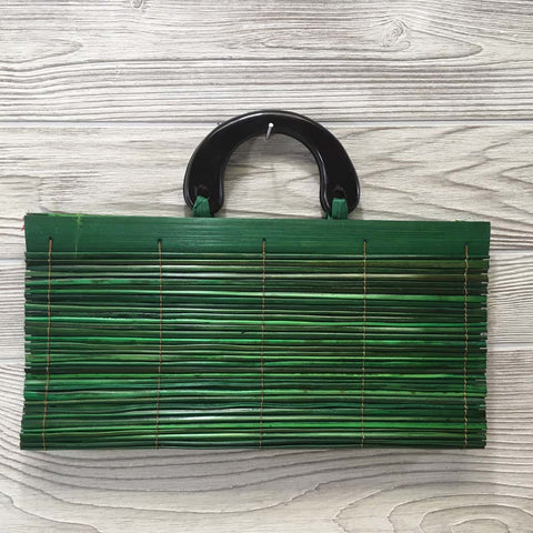 Natural Eco-Friendly Bamboo Handbag with Palm Sticks - Large Green