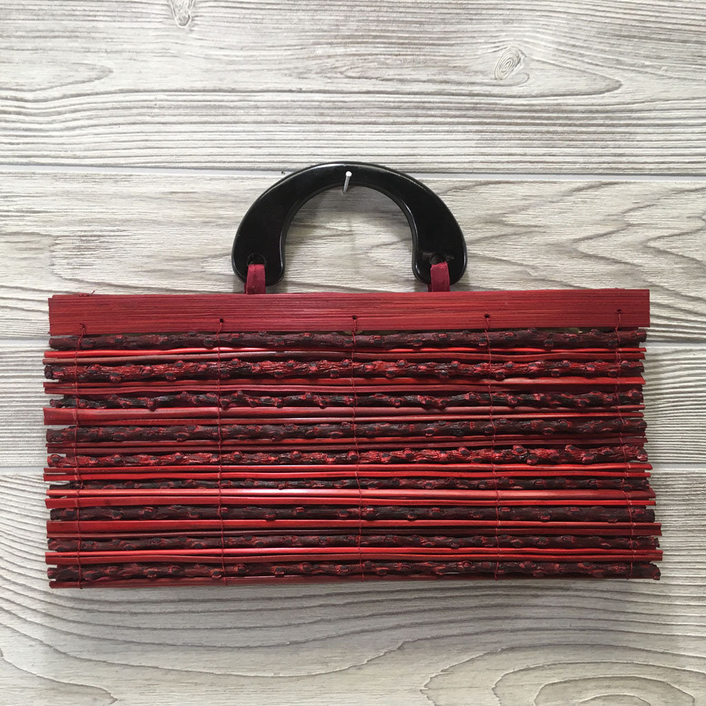 Natural Eco-Friendly Bamboo Handbag with Palm Sticks - Large Red