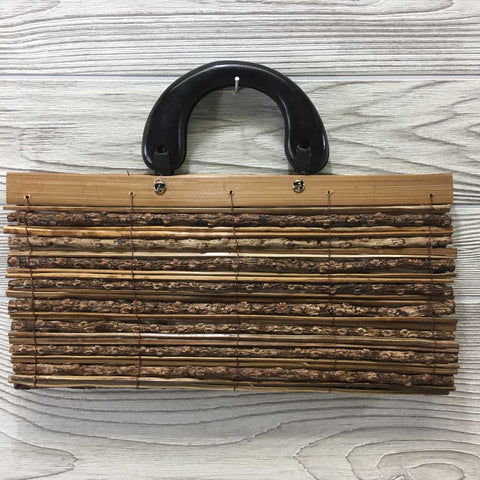 Natural Eco-Friendly Bamboo Handbag with Palm Sticks - Large Natural