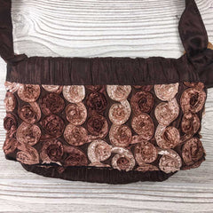 Satin Silk Crinkle Bag Swirl Design - Brown