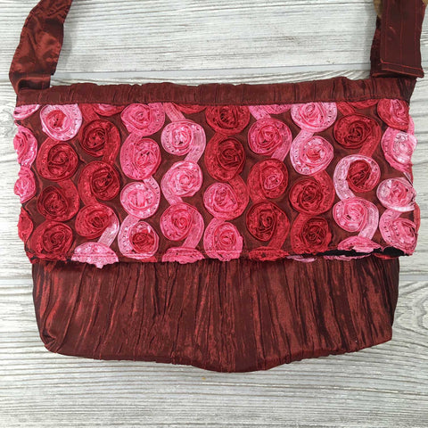 Satin Silk Crinkle Bag Swirl Design - Crimson Red Pink