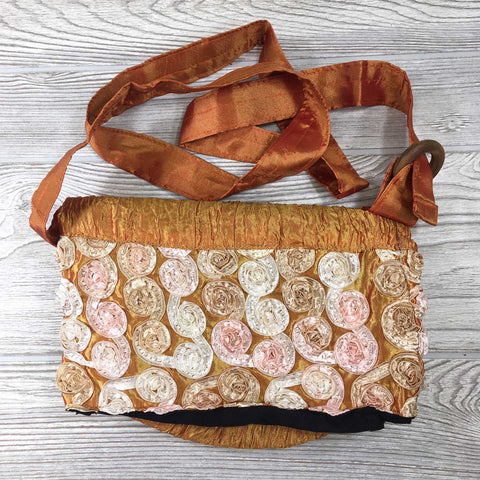 Satin Silk Crinkle Bag Swirl Design - Golden Tangerine