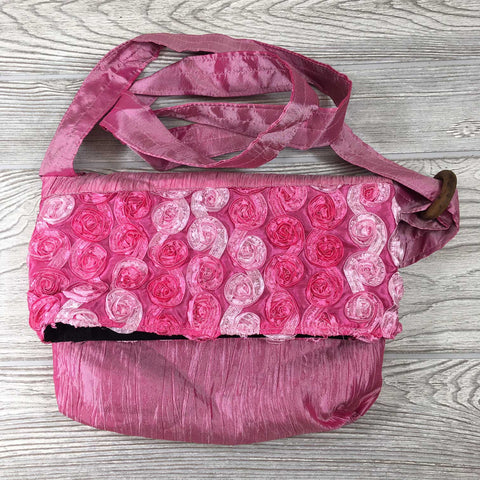 Satin Silk Crinkle Bag Swirl Design - Pink