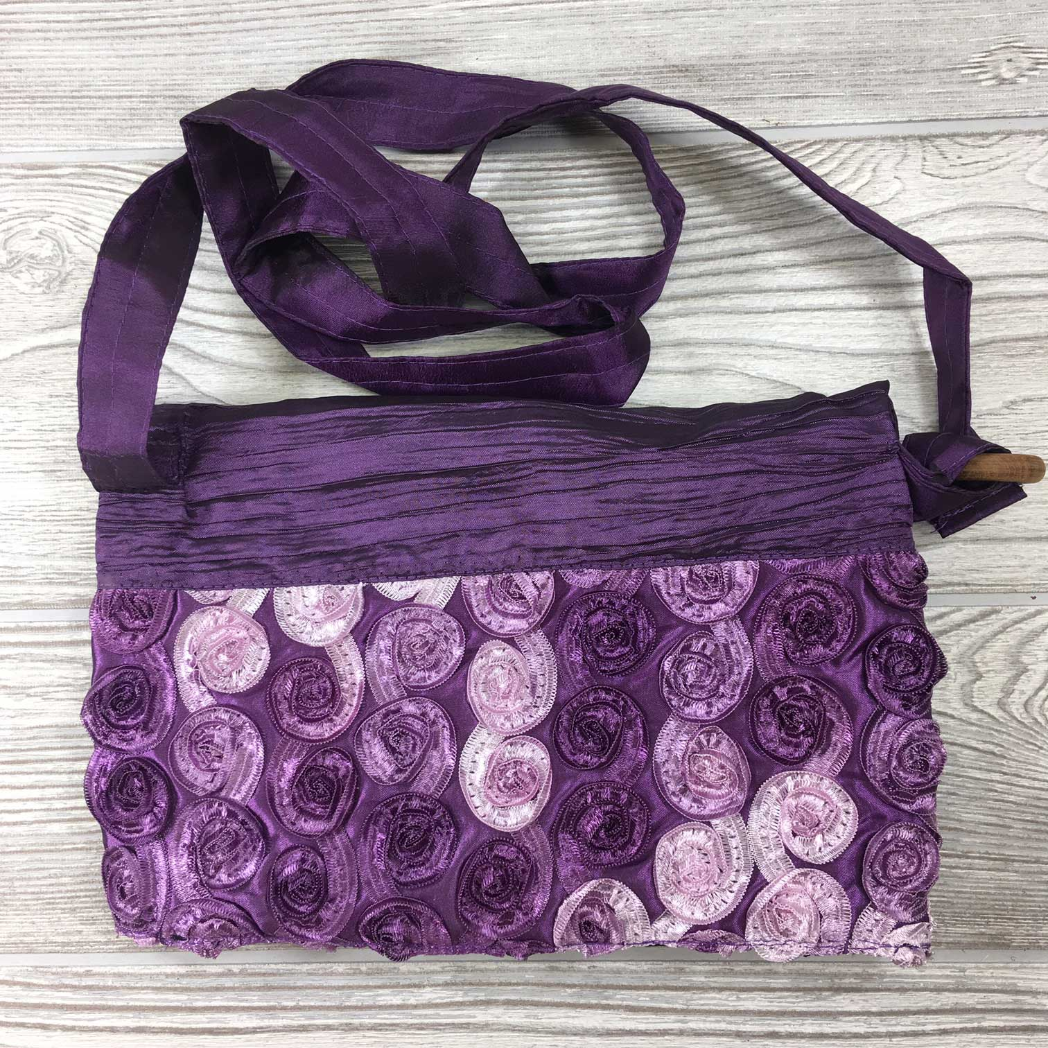 Satin Silk Crinkle Bag Swirl Design - Purple