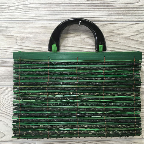 Natural Eco-Friendly Bamboo Handbag with Palm Sticks - XLarge Green