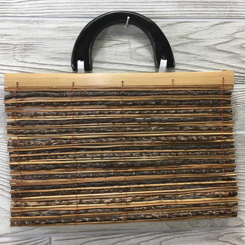 Natural Eco-Friendly Bamboo Handbag with Palm Sticks - XLarge Natural