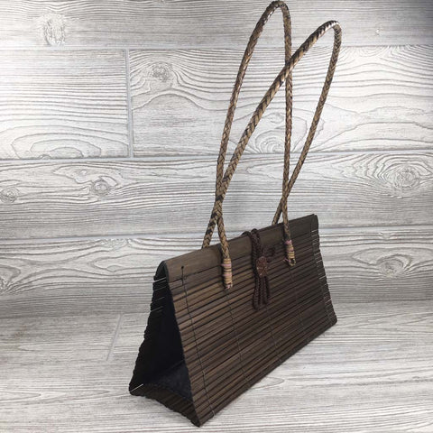 Natural Eco-Friendly Bamboo Handbag with Strap - Large - Brown