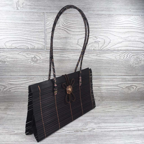 Natural Eco-Friendly Bamboo Handbag with Strap - Large - Maroon