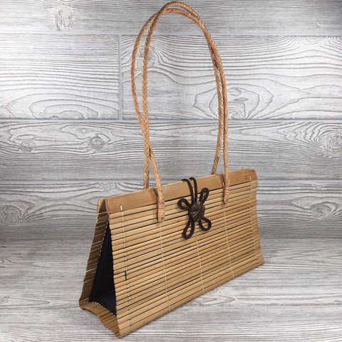 Natural Eco-Friendly Bamboo Handbag with Strap - Large - Natural