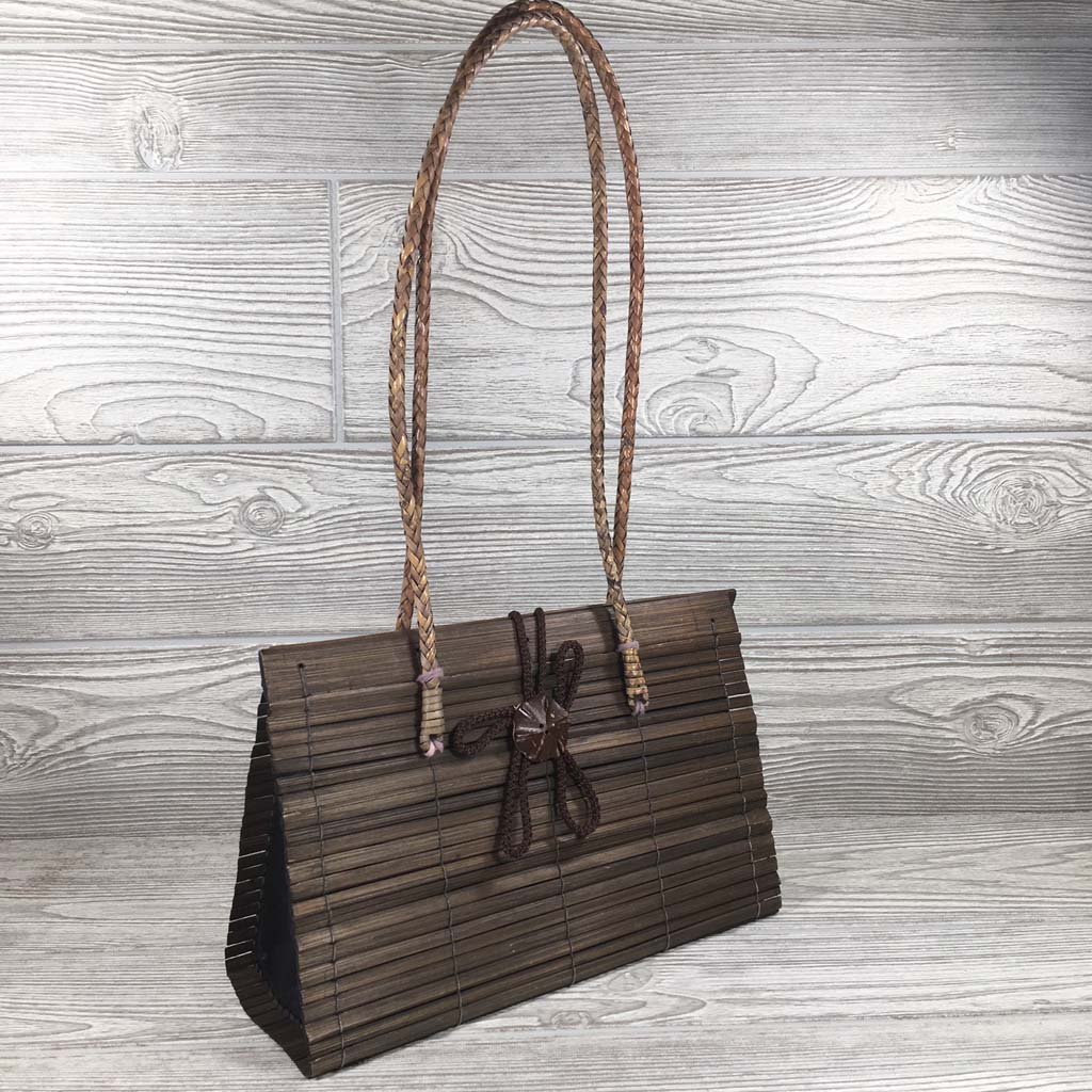 Natural Eco-Friendly Bamboo Handbag with Strap - Medium - Brown