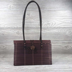 Natural Eco-Friendly Bamboo Handbag with Strap - Medium - Maroon