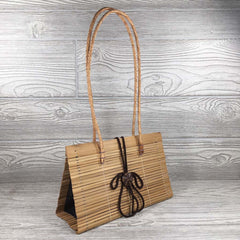 Natural Eco-Friendly Bamboo Handbag with Strap - Medium - Natural