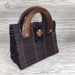 Natural Eco-Friendly Bamboo Bag - Small - Maroon
